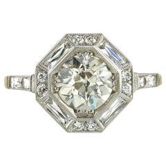 1.28 Carat GIA Certified Old European Cut Diamond Engagement Ring