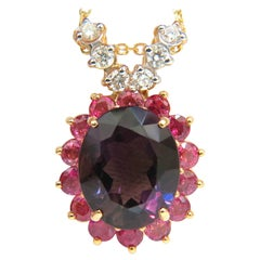 14 Karat 13.5 Carat Natural Amethyst Ruby Diamonds Cluster Halo Pendant