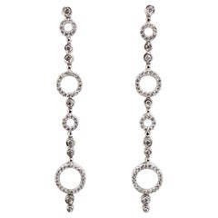1.20 Carat Natural Diamonds Dangle Earrings 14 Karat Floating Circle Bubbles