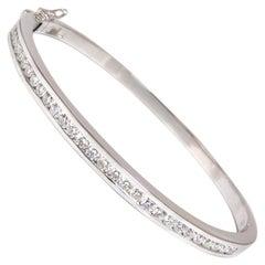 1.30 Carat Natural Round Diamonds Bangle Bracelet G/Vs Channel 14 Karat