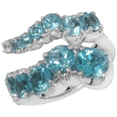 Pasquale Bruni 18 Karat White Gold Diamond and Blue Topaz Ring 12300B-52