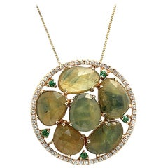 Rose Cut Sliced 11.98 Ct Green Sapphire 0.40 Ct Diamond 14k yellow Gold Necklace