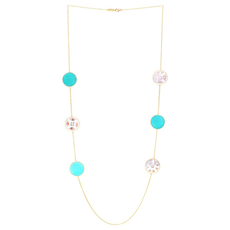 IPPOLITA 18K Gold Polished Rock Candy Carved Layers 6- Station Necklace in Isola