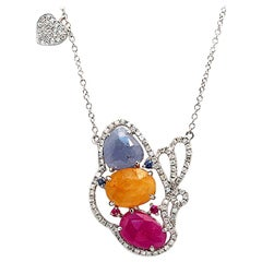Sliced 6 Ct Multi Sapphire 0.59 Ct Diamonds 14k Gold Butterfly Heart Necklace