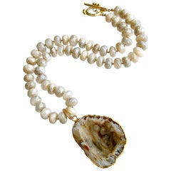 Champagne Mystic Moonstone with Removable Druzy Geode Pendant, Corine Necklace