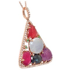 Sliced 9.18 Ct Multi Sapphire 0.44 Ct Diamonds 14k Rose Gold Triangle Necklace