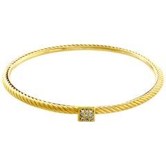 David Yurman 18 Karat Gold Classic Cable Diamonds Bangle Bracelet