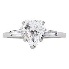 Midcentury 1.69 Carat Shield Cut Diamond Platinum Engagement Ring