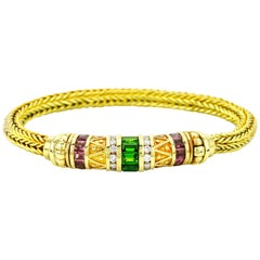 SeidenGang Tourmaline and Diamond 18 Karat Yellow Gold Woven Bracelet