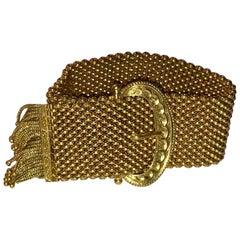Victorian 18 Karat Gold Etruscan Buckle Mesh Slide Bracelet with Fringe