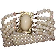14 Karat Gold Angel Skin Coral Cabochon Beaded Bracelet