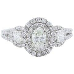 Vera Wang Ring Oval Diamond 1 1/2 Carat Three-Stone 14 Karat White Gold