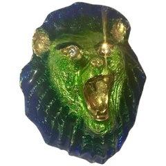 MCM 18 Karat Gold Enamel Lion Head Pin with Diamond Eyes Brooch