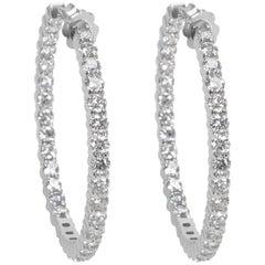 Diamond Hoop Earrings in 14 Karat White Gold 5.44 Carat