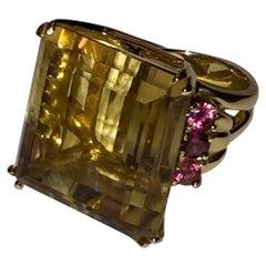 Retro 14 Karat Gold Citrine Rubellite Cocktail Ring