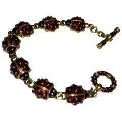Hildalgo Lady Bug Red Enamel Bracelet 18 Karat Gold