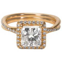 GIA Certified Princess Cut Diamond Halo Engagement Ring in 14K Gold