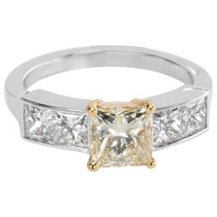 GIA Certified Diamond Engagement Ring in 18 Karat YG and Plat 2.13 Carat