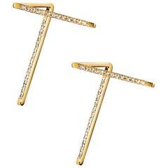 18 Karat Yellow Gold Diamond Pair of Earrings