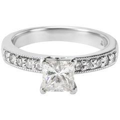 GIA Certified Princess Diamond Engagement Ring in Platinum 1.12 Carat Ring
