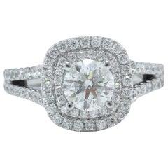 Vera Wang Ring Round 2.00 Carat Diamond Frame Split Shank 14 Karat White Gold