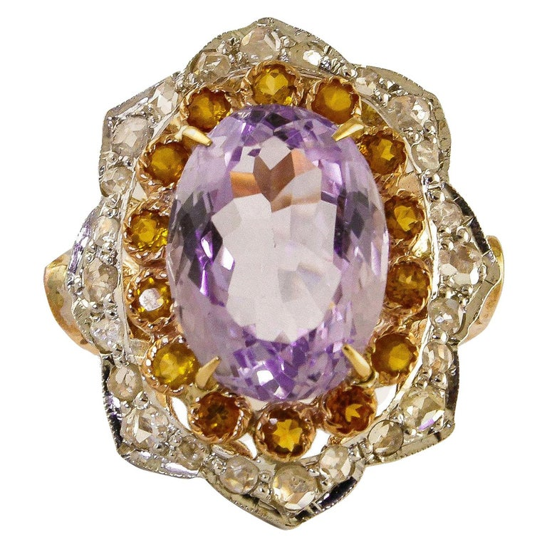 Yellow Topazes Diamonds Amethyst Rose Gold and Silver Ring