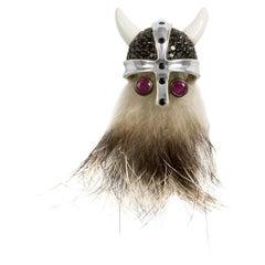 Deakin & Francis Sterling Silver Hairy Viking Lapel Pin