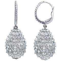 Studio Rêves 18 Karat White Gold and Rose Cut Diamond Pineapple Earrings
