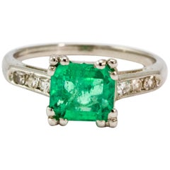 Art Deco Diamond and Platinum Emerald Ring