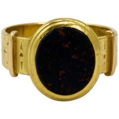 22 Carat Gold Victorian Bloodstone Signet Ring