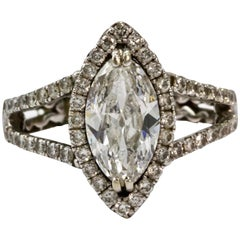 GIA Certified 1.58 Carat D SI2 Marquise Diamond Engagement Ring