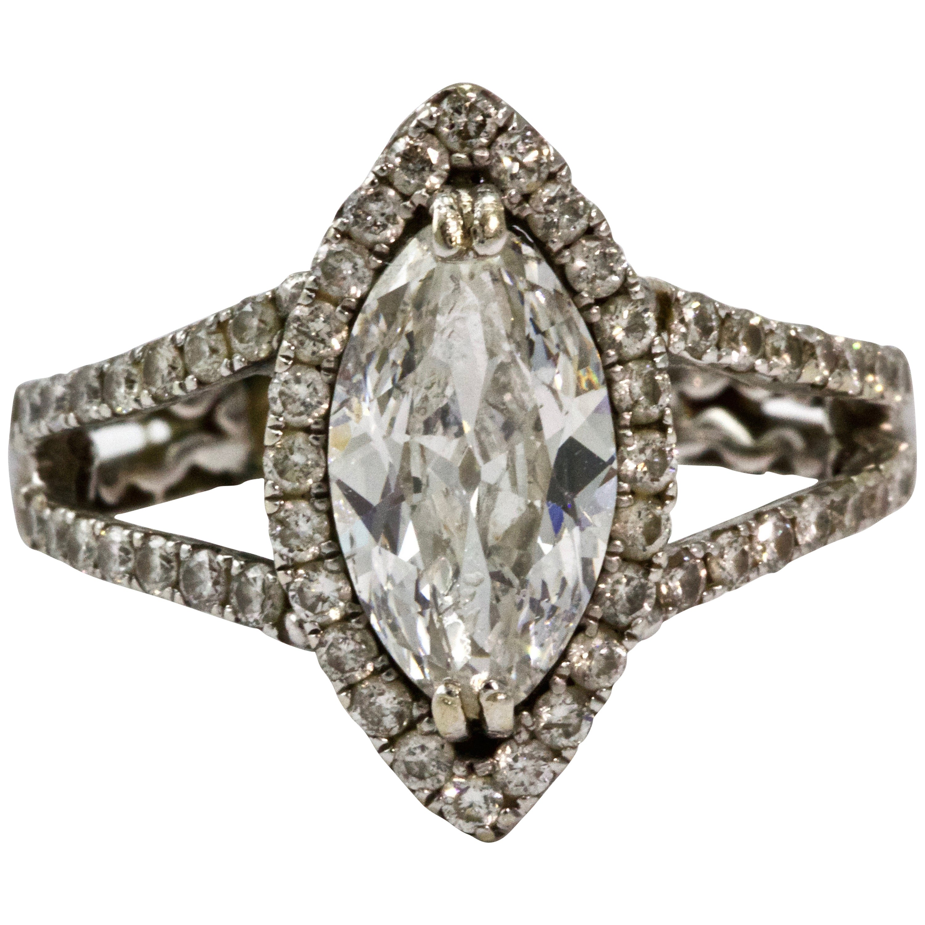 Certified 2.48 Carat Marquise Diamond Engagement Ring