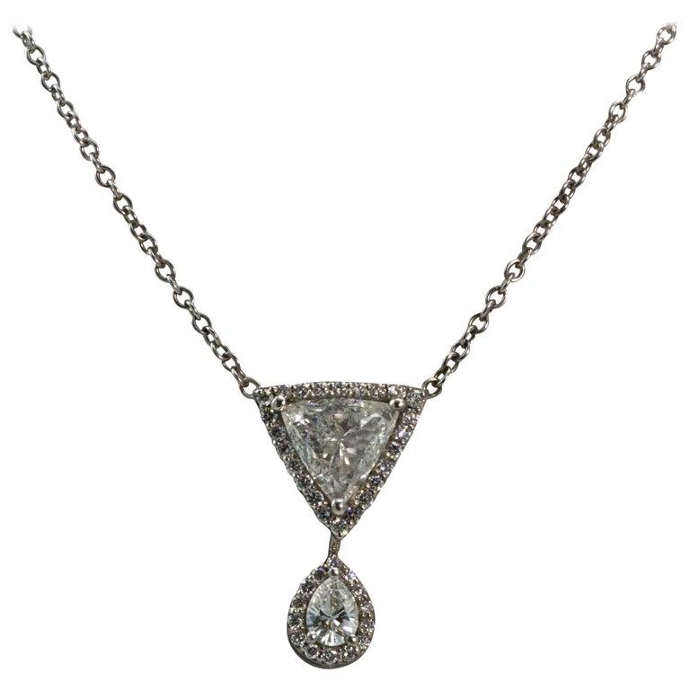 18 Carat Gold Trillion Cut Diamond Drop Pendant Necklace