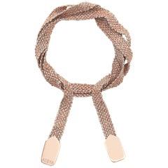 Light Grey Silk Rose Gold Vermeil Wrap Bracelet