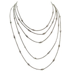 Platinum and Diamond Long Guard Art Deco Chain
