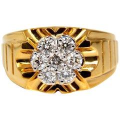1.00 Carat Natural Round Cut Diamonds Wide Men's Cluster Ring 18 Karat Flash