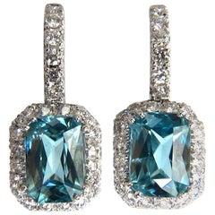 7.05ct Natural Bright vivid indigo blue zircon diamond earrings 14kt Halo