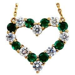 Natural Emeralds and Diamonds Open Heart Necklace 1.84 Carat, 14 Karat G/Vs