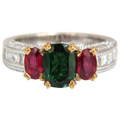 3.46ct natural vivid green tsavorite ruby diamonds ring 14kt three stone class