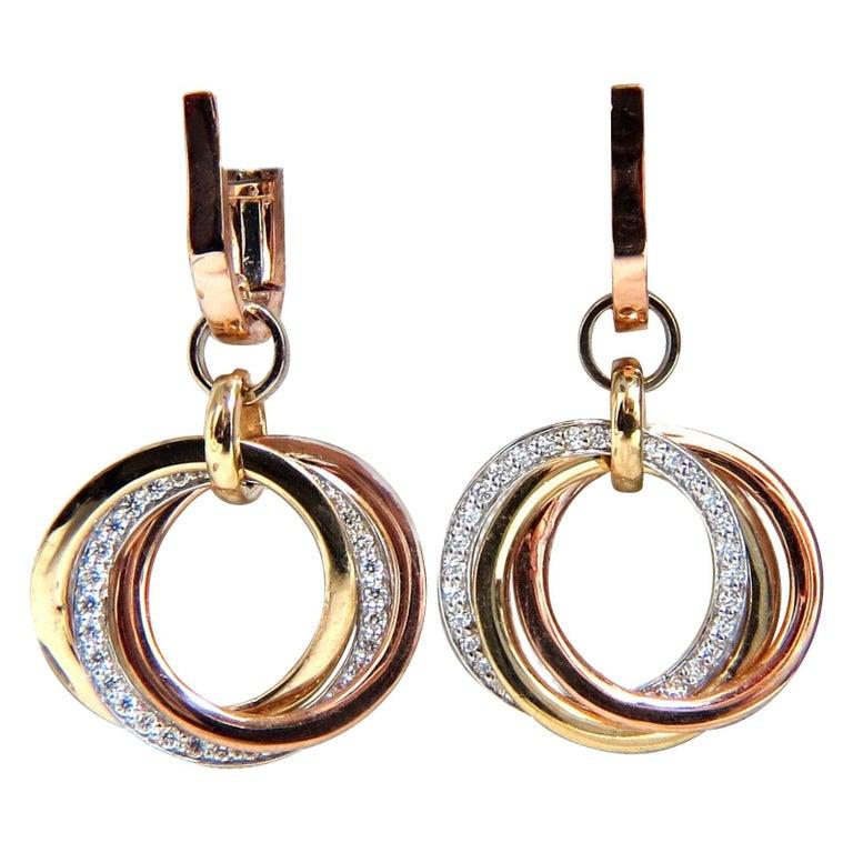 .50 Carat Natural Diamonds Rolling Loop Rings Dangle Earrings 14 Karat Multi For Sale