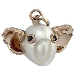 Koala Australian Pearl Black Diamond 18 Karat White Gold Pendant or Necklace