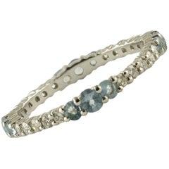 Diamonds Aquamarine White Gold Ring
