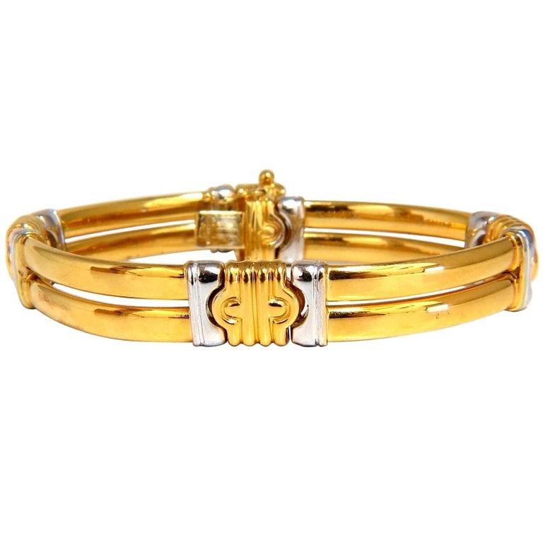 18 Karat Gold Two-Toned Slim Cuff Bracelet Byzantine Mod