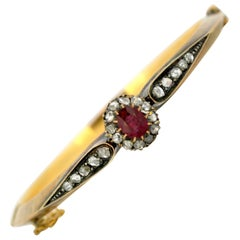 Antique Victorian 15 Karat Gold Ladies Bangle with Ruby and Diamonds circa 1870s