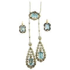 14 Karat Gold and Platinum Necklace and Earring Set of the Belle Époque Period