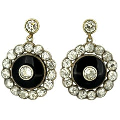 Antique Victorian 15 Karat Gold Ladies Stud Earrings with Diamonds and Onyx