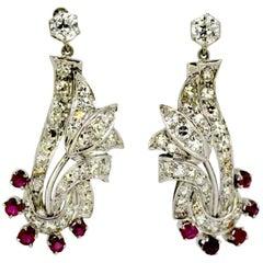 Vintage 18 Karat White Gold Ladies Stud Earrings with Diamonds and Rubies
