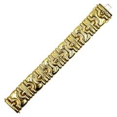 1970s Italian Wide Link 14 Karat Yellow Gold Bracelet