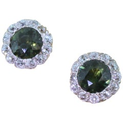 Art Deco 4.72 Carat Natural Green Sapphire and Diamond Cluster Earrings