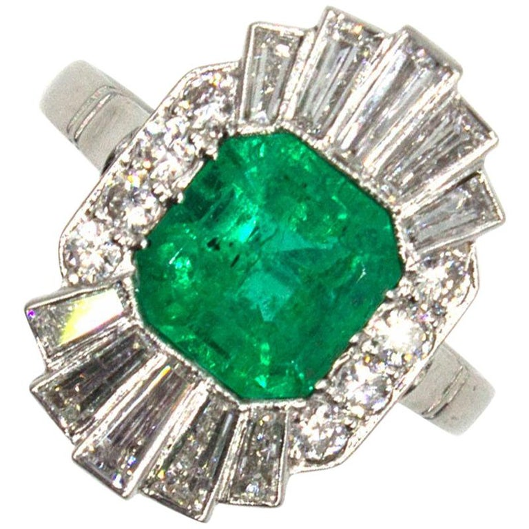 1940s Emerald Diamond Platinum Cocktail Ring For Sale